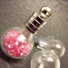 Swarovski Crystal Rose AB in Round Ball Glass Bottle Vial Charm Pendant