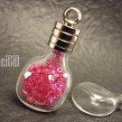 Swarovski Crystal Rose AB in Whisky Glass Bottle Vial Charm Pendant
