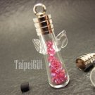 Swarovski Crystal Rose AB in Mini Angel Glass Vial Charm Pendant