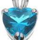 Halle's 18K White Gold Plated Tiffany Solitaire 2 ct Heart Aqua CZ Pendant