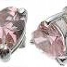 Halle's 18K White Gold Plated Tiffany Solitaire 2 ct Heart Pink CZ Sterling Silver Earrings