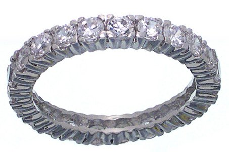 Rhodium Plated Eternity CZ Jessica Simpson Band ring (any size)
