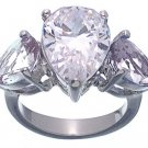 Rhodium Plated Sterling Silver Jessica Simpson CZ Wedding Ring (any size)