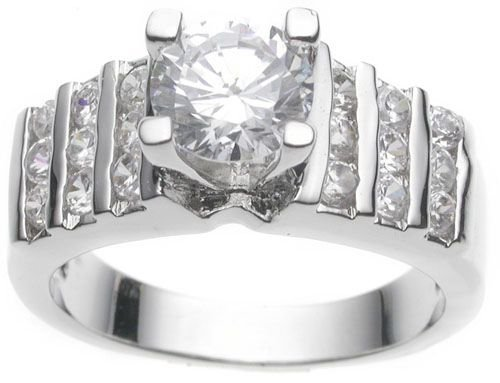 Rhodium Plated Solitaire Wedding Ring (any size)