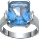 Rhodium Plated Blue Topaz Jlo Wedding Ring (any size)