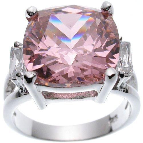 Rhodium Plated Jlo Cushion Wedding Ring (any size)