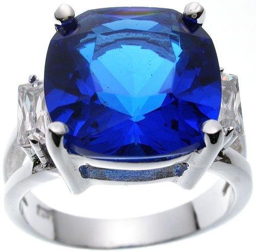 Rhodium Plated Jlo Cushion Sapphire Wedding Ring (any size)