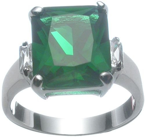 Rhodium Plated Sterling Silver Emerald Jlo Wedding Ring (any size)