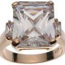 18K Rose Gold Plated Sterling Silver White Jlo Wedding Ring (any size)