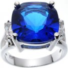 Rhodium Plated Sterling Silver Jlo Cushion Sapphire Wedding Ring (any size)