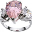 Rhodium plated Sterling Silver Jessica Simpson Pink CZ Wedding Ring (any size)
