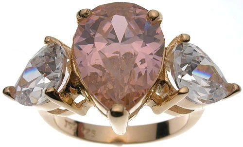 18K Rose Gold Sterling Silver Jessica Simpson Pink CZ Wedding Ring (any size)