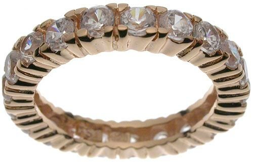 18K Rose Gold Plated Sterling Silver Eternity CZ Jessica Simpson Band (any size)