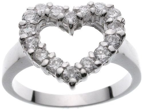 Rhodium Plated Solid Sterling Silver CZ Heart Ring(any size)