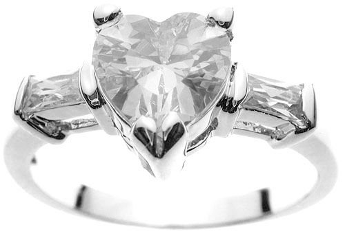Rhodium Plated Solid Sterling Silver Heart Solitaire Ring (any size)