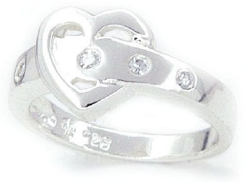 Heart Shaped Buckled Solid Sterling Silver CZ Ring (any size)