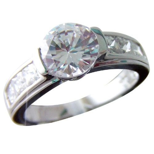 Rhodium Plated CZ Wedding Ring _G12 (any size)