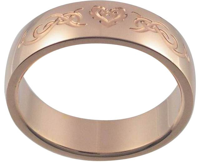 Celtic Flaming Heart 18K Rose Gold Plated Stainless Steel Ring (any size)