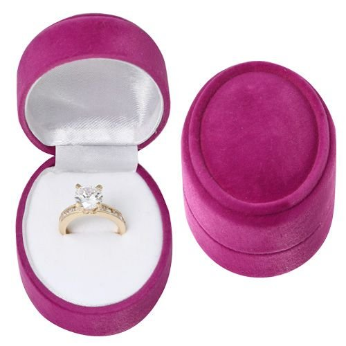 Peachblow Faux Velour Oval Plastic Ring Box