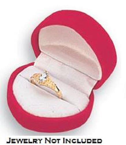 Red Heart Velvet metal ring box