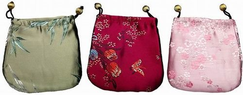 Three Silken Chinese Pattern Jewelry Pouches