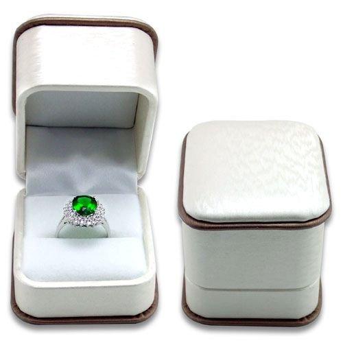 White Brocade Plastic Ring Box