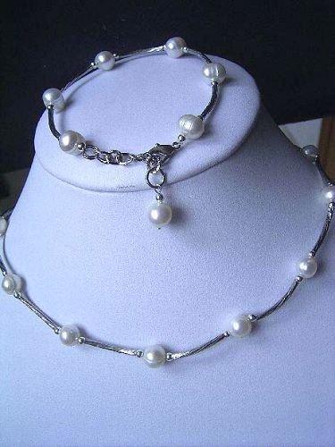 7-8mm Genuine White Pearl Necklace Bracelet Set
