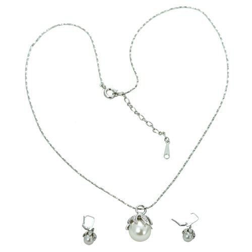 18K White Gold Plated Pearl Genuine Swarovski Crystal Necklace and Earrings Set