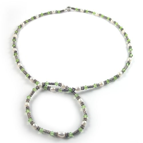 Genuine Pearl and Crystal Necklace and Bracelet