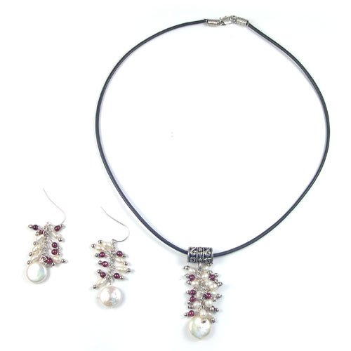 Genuine Pearl/Garnet Earrings and Leather Necklace 18 inches