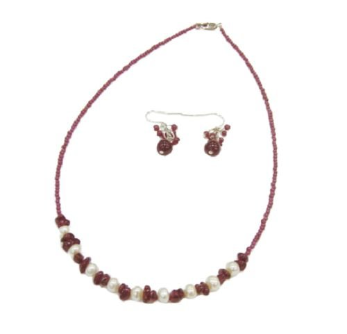 Genuine Pearl and Garnet Necklace/Earrings