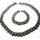 Genuine Pearl Latice Necklace and Bracelet Set