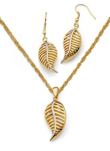 Solid 18K Gold Laminated Copper Two Tone Leaf Necklace Earring Set
