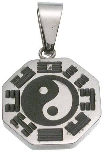 316L Stainless Steel pendant with black the Eight Diagrams Good Luck Charm
