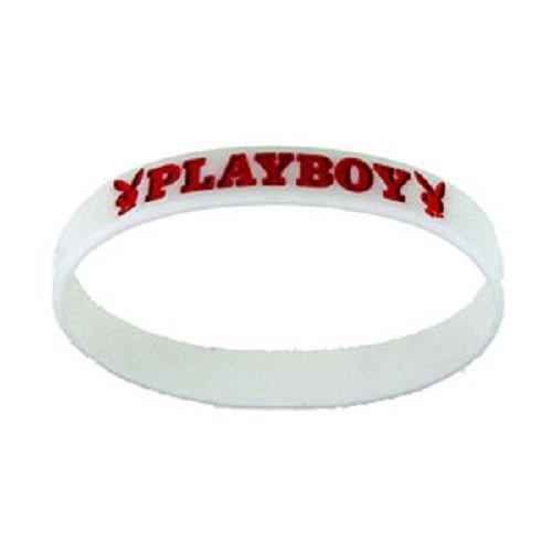 White Rubber Bracelet Playboy Red script