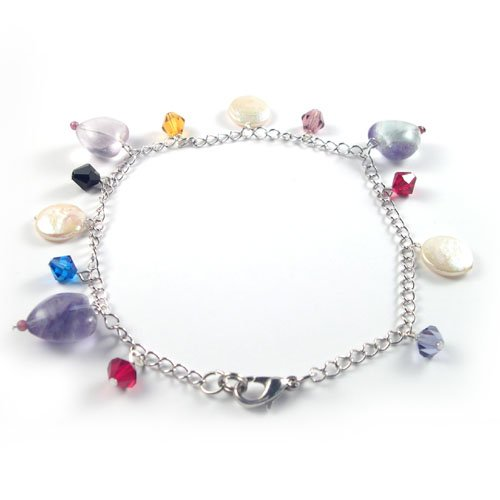 Genuine Fluorite and Coin Pearl Multicolor Anklet