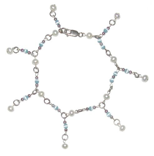 Genuine Pearl Cats Eye Sterling Silver Adjustable Anklet