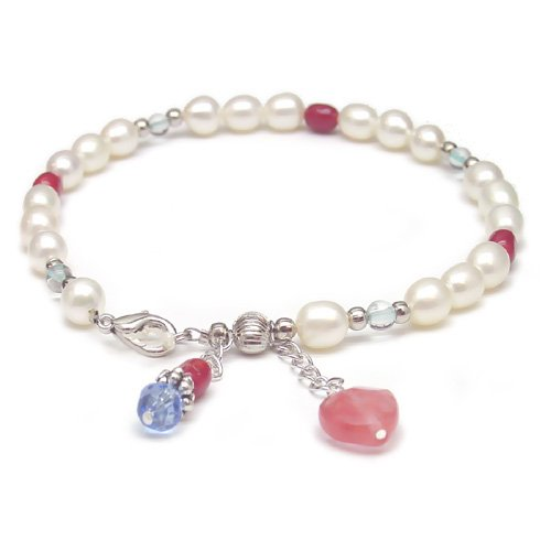 Genuine Pearl and Coral Heart Anklet