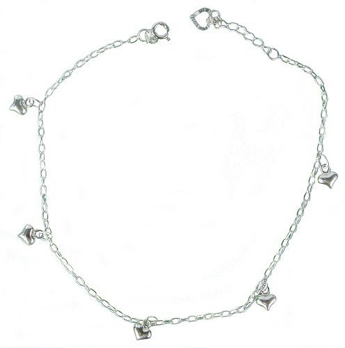Solid Sterling Silver Heart Anklet