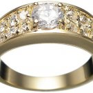 18K Gold Plated Solid Sterling Silver CZ Wedding Ring (any size)