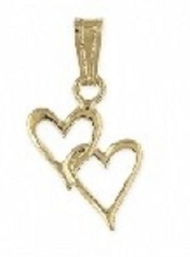 Linked Double Hearts 24k Gold PLated Pendant