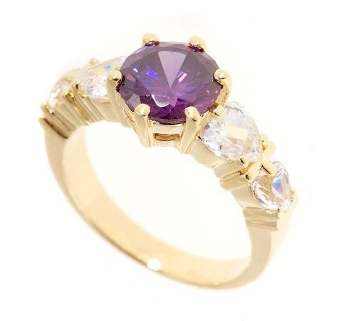 18k Gold plated 4 created heart diamonds & Amethyst ring (any size)