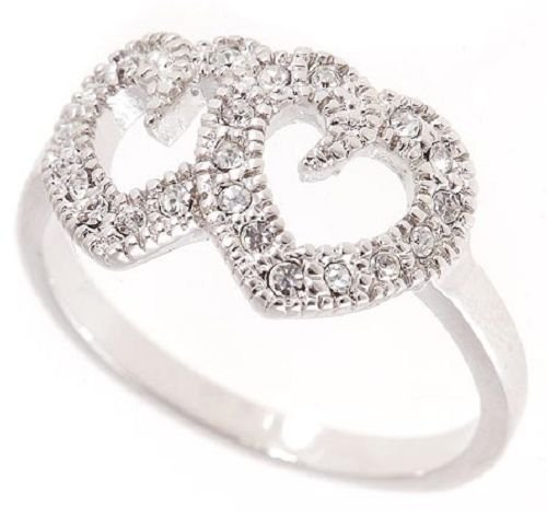 18k Gold plated Double Hearts CZ Love Ring (any size)