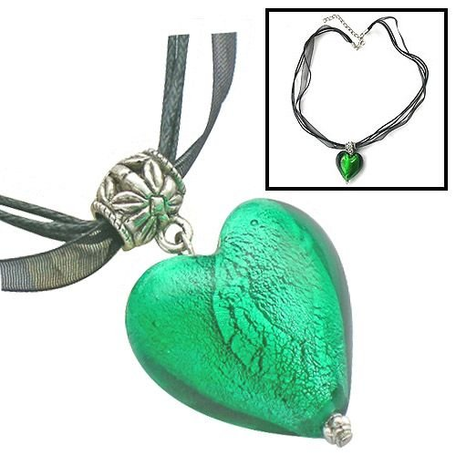 Handmade Necklace with Murano Glass Heart Pendant ZZ