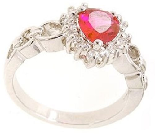 Rhodium Plated Brass Ruby Heart CZ Ring (any size)