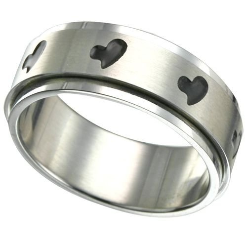 316L Steel Spinner Ring with Heart Design (any size)