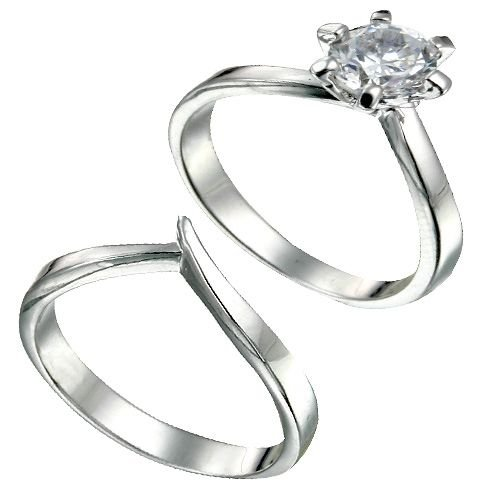 Rhodium Plated Sterling Silver Brilliant CZ Bridal Ring Set (any size)