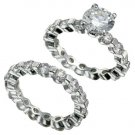 Rhodium Plated Brilliant CZ Bridal Ring Set  (any size)