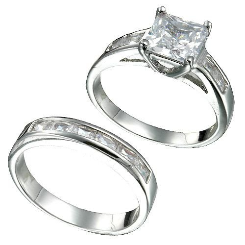 Rhodium Plated Sterling Silver Princess Cut CZ Bridal Ring Set(any size)