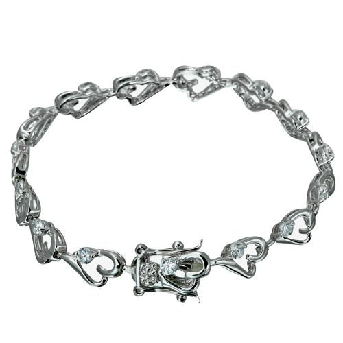 Rhodium Plated Heart Link CZ Bracelet